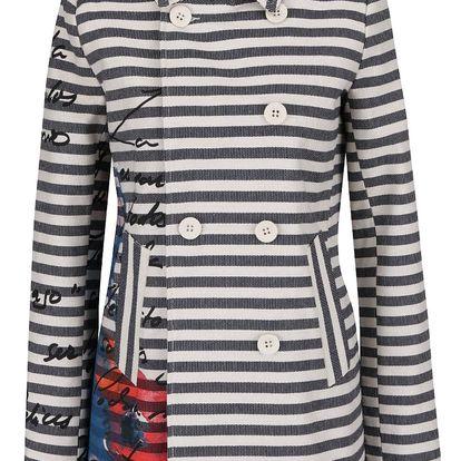 Krémovo-modrý lehký pruhovaný kabát Desigual Mencía