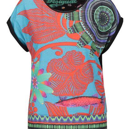 Tyrkysové volné tričko s barevnými vzory Desigual Amaia