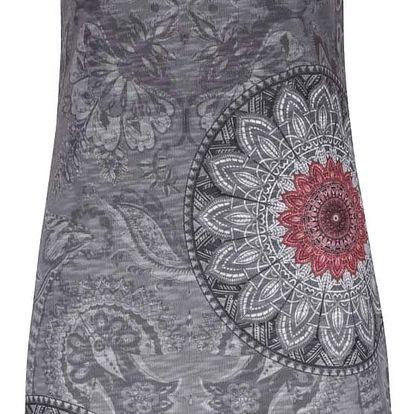 Šedé vzorované šaty s potiskem mandal a květů Desigual Evasé Rojos Grises