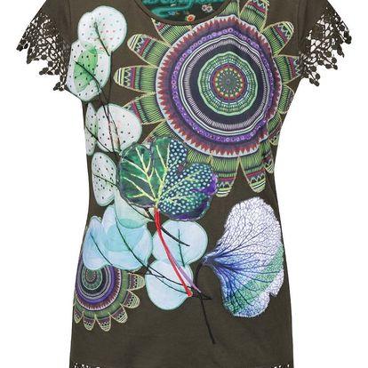 Tmavě zelené tričko s krajkovými detaily a květinovým motivem Desigual Caty