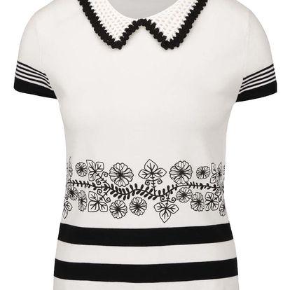 Černo-krémové vzorované tričko s háčkovaným límečkem Desigual Natalia