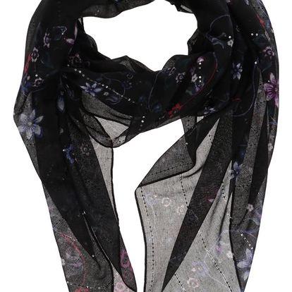 Černý šátek s barevným potiskem a flitry Desigual Vakiria Rectangle
