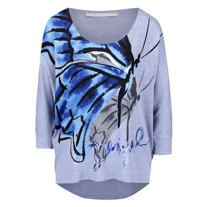 Modré tričko s netopýřími rukávy Desigual Mireia