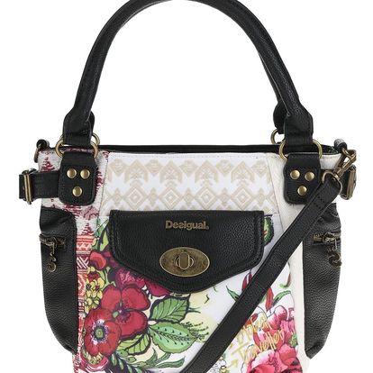 Černo-bílá kabelka s tropickým vzorem a detaily Desigual McBee Mini Madeira