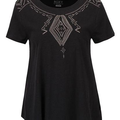 Černé tričko s vyšitými ornamenty Roxy Point