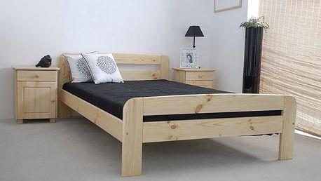Dřevěná postel Klaudia 90x200 + rošt ZDARMA ořech
