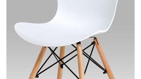 Jídelní židle bílý vroubkovaný plast / natural