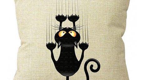 Povlak na polštář - Černá kočička - dodání do 2 dnů