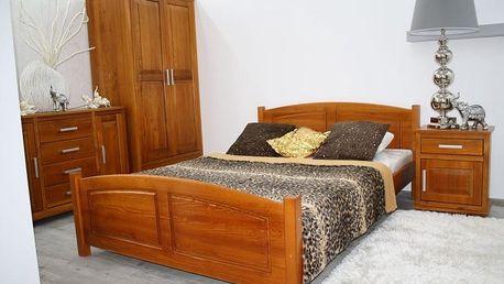Postel z masivu Zyta 120x200 cm borovice + rošt ořech