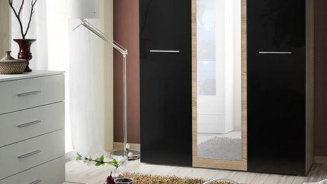 Šatní skříň se zrcadlem BIG, dub sonoma/černý lesk