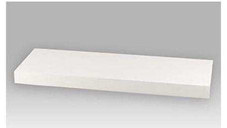 Nástěnná polička 60 cm, barva bílá-vysoký lesk