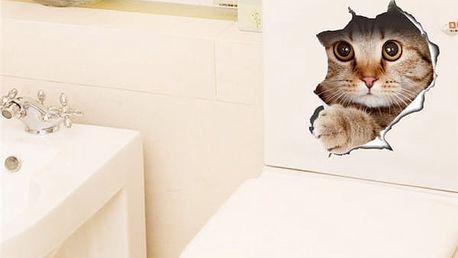 3D samolepka na zeď - kočka - dodání do 2 dnů