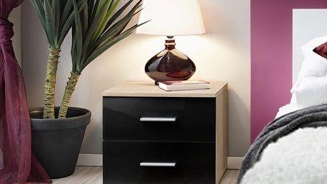 Noční stolek Vicky, dub sonoma/černý lesk