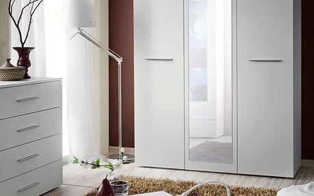 Šatní skříň se zrcadlem BIG, bílá matná/bílá matná