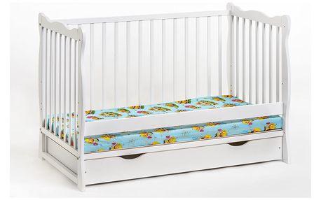 Dětská postýlka s matrací ALA PLUS, bílá