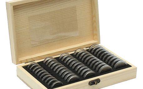 Úložná krabička s 50 kapslemi pro sběratele mincí