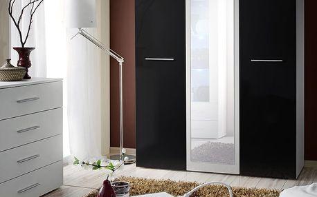 Šatní skříň se zrcadlem BIG, bílá matná/černý lesk