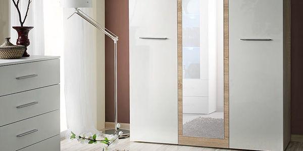 Šatní skříň se zrcadlem BIG, dub sonoma/bílý lesk