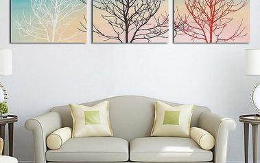 Tři kusy malířského plátna s motivem stromů - 30x30 cm