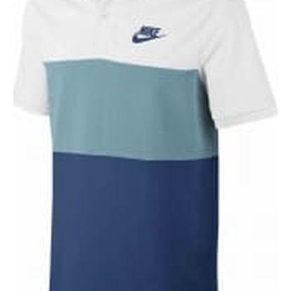 Pánská polokošile Nike M NSW POLO PQ MATCHUP CLRBLK L WHITE/MICA BLUE/BINARY BLUE/BI