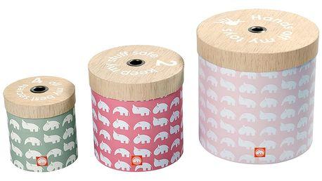 Sada 3 krabic Deer, růžová