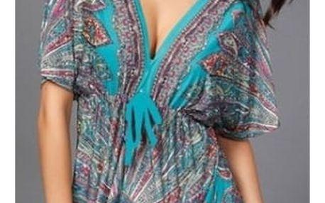 Letní bohémské šaty ve volném střihu - mix barev