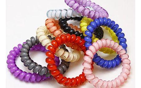 Barevné gumičky ve stylu telefonního kabelu - 10 kusů