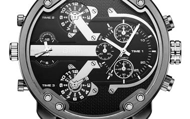 Moderní pánské hodinky pro dvě časová pásma
