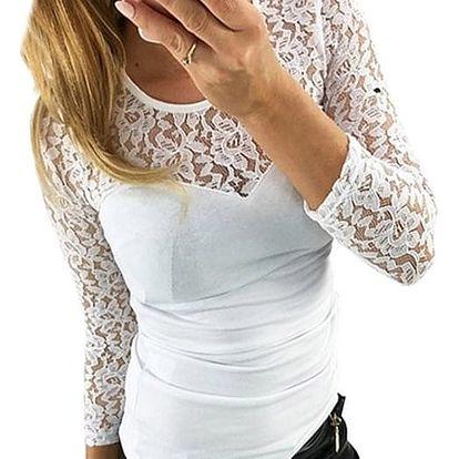 Dámský krajkový top s 3/4 rukávem - 3 barvy