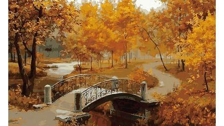 Bezrámový nedokončený obraz 40 x 50 cm - Podzimní lávka