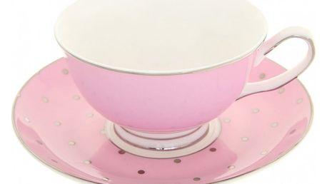 Hrnek s podšálkem Bombay Duck Miss Darcy Pink