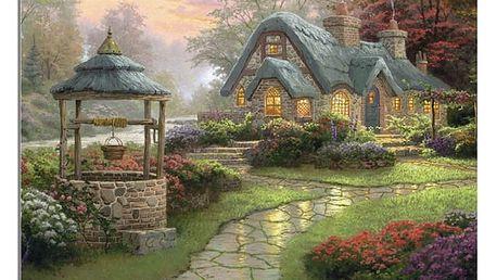 Historický obraz domu se studnou z kamínků na domácí tvoření