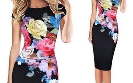 Elegantní šaty s květinami - 5 velikostí