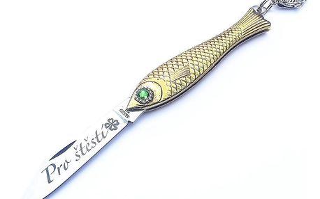 Zlatý český nožík rybička se zeleným okem Pro štěstí!