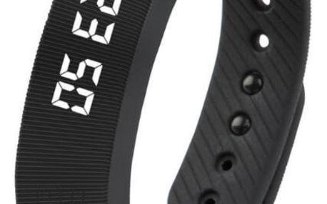Chytrý náramek s krokoměrem a digitálním ukazatelem času - černá - dodání do 2 dnů