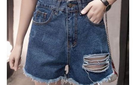 Jeans kraťasy s vysokým pasem - velikosti S-5XL