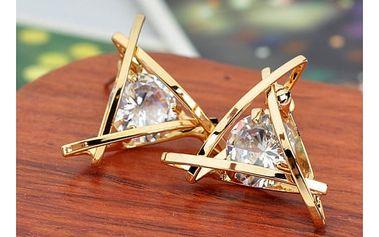 Náušnice ve tvaru trojúhelníku s kamínkem - zlatá barva - dodání do 2 dnů