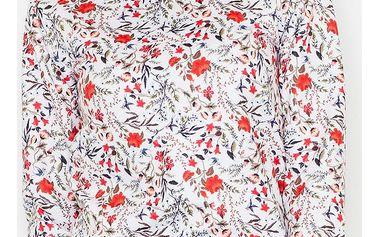 Bílo-červený květovaný top M541