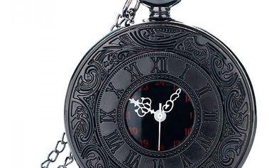 Kapesní hodinky v černém provedení