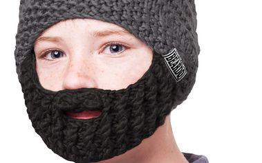 Šedá dětská čepice s černým plnovousem Beardo Kids
