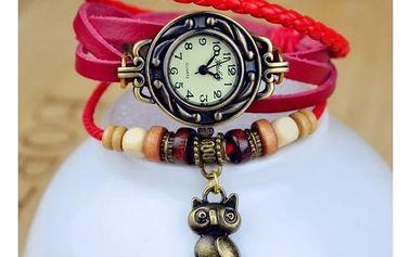 Dámské vícevrstvé hodinky s přívěskem sovy - 5 barev