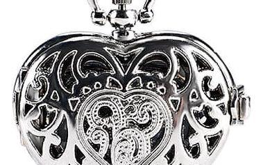 Kapesní hodinky ve tvaru srdce - stříbrná barva