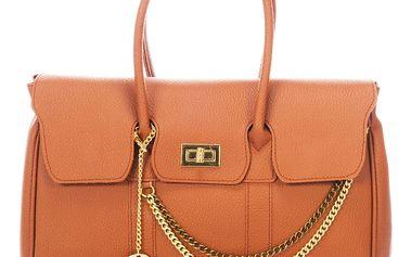 Oranžová kožená kabelka Federica Bass Pegasi - doprava zdarma!