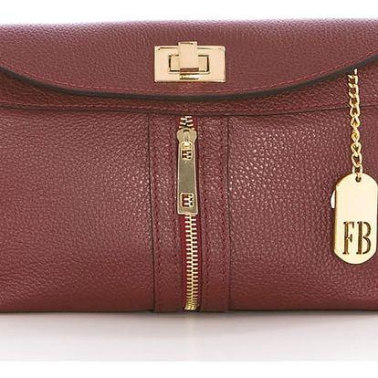 Vínová kožená kabelka Federica Bass Dione - doprava zdarma!
