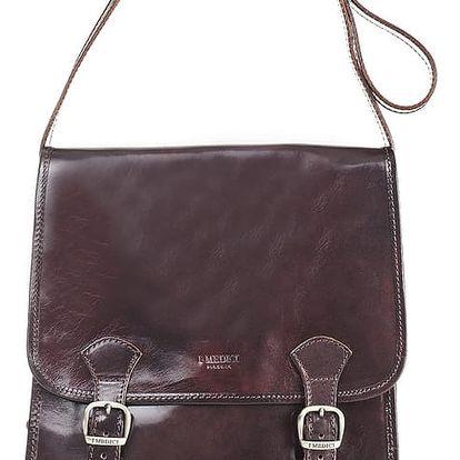 Tmavě hnědá kožená taška Medici of Florence Giuliano - doprava zdarma!