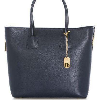 Tmavě modrá kožená kabelka Federica Bassi Saffiano - doprava zdarma!