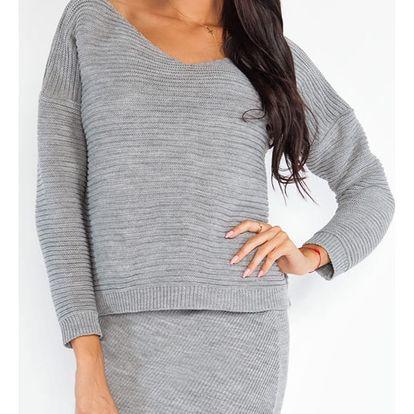 Šedý komplet pulovr + sukně Fobya F214