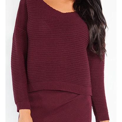 Bordový komplet pulovr + sukně Fobya F214