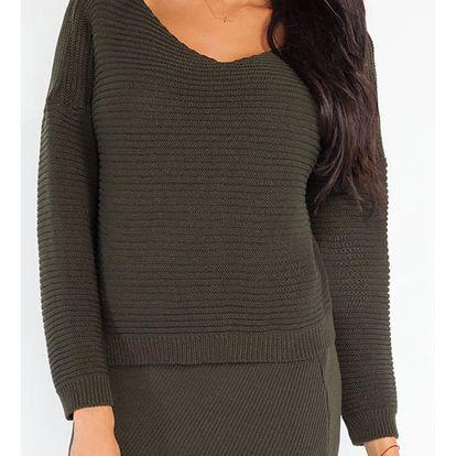 Tmavě zelený komplet pulovr + sukně Fobya F214