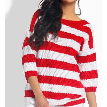 Červeno-bílý pulovr L183